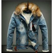 Mens Fur Collar Denim Thicken Retro Casual Suede Coats Jacket Winter Blue US L