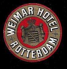 Vintage Luggage Label. WEIMAR HOTEL. ROTTERDAM. (BI#VLLA).