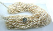 "Two Strands VINTAGE  Japanese 5mm to 6mm Freshwater Biwa Rice Pearl 15""  Strand"