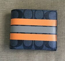 COACH MEN'S SIGNATURE STRIPE COATED CANVAS AND LEATHER DOUBLE  BILFOLD WALLET