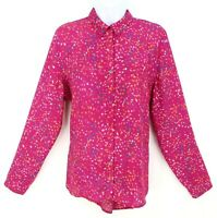 Apt. 9 Top Shirt Blouse Button Up Womens Size L Pink Fake Pockets Long Sleeve