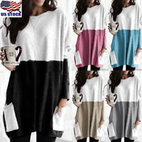 Women Long Sleeve Pocket Autumn Tunic Tops Loose Casual Blouse T-Shirt Plus Size