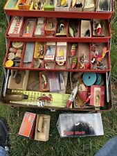 Giant Vintage Tackle Box Full with Lures & Fishing Gear Spinners Heddon