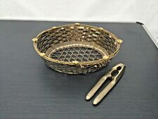 Vintage Metal Nut/Sweet Basket And Nut Crackers