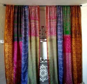 2 Pcs Indian Sari Patchwork Curtain Drape Window Decor Multi Silk Sari Curtain
