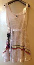 NEW DESIGUAl COTTON WHITE SLEEVELESS DRESS SZ - XL, USA - L