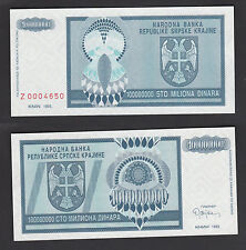 Croatia 100000000 100 Million Dinara (1993) PR15r REPLACEMENT #Z - UNC