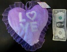 """SMALL HEART PILLOW PURPLE VELVET """"LOVE"""" VALENTINES HANG -IN"""