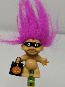 Vintage Russ Halloween Troll Doll Pencil Topper Fushia Hair Mask & Pumpkin Bag