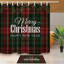 Christmas Tree Branches Bath Decor Text Merry Christmas Print On Shower Curtain