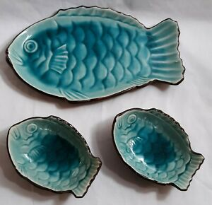 Gorgeous Fish Shaped Sushi (3) Plate Set For Two Turquoise Bluish Green Japan