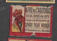 Ancienne  étiquette Allumettes  Belgique BN1507 Roi du Caoutchouc  Vêtement