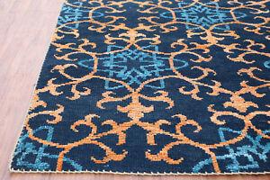 "5.7""x7.10"" Damask Blue Modern Quality Handknotted 100% Woolen Rugs & Carpet"