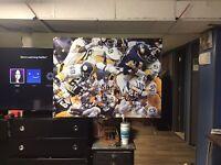 HUGE! 43x32. Pittsburgh Steelers Vinyl Banner POSTER jack Lambert Joe Greene Art