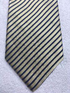 NAUTICA MENS TIE GOLD WITH NAVY BLUE STRIPES 3.75 X 60