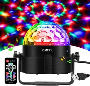 Omeril Rotating Disco Light Globe Ball Sound Activated with Remote Control