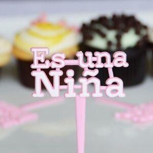 12x Pink Es Una Nina Cupcake Picks for Baby Shower Its a girl
