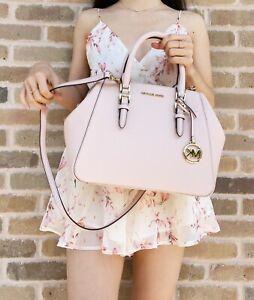 Michael Kors Charlotte Ciara Large Satchel Blush Pink Leather Handbag Crossbody