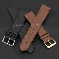 20/22mm Watch Band Replacement Black Brown Genuine Leather Watch Strap Buckle