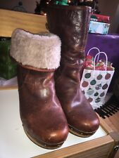 UGG Brown Leather and Fold Over Sheepskin Ankle Boots Studded Wooden Heel Size 7