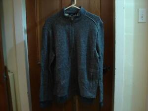 Men's Marc Anthony Blue White Full Zip Fleece Jacket Size M NWT    3