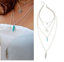Silver 4 Strand Multi-Layer Layered Necklace Bohemian Feather Leaf Party BB