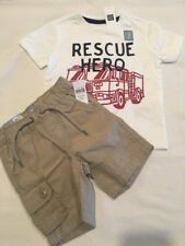 New Baby Gap Boys 18 24 Months Outfit Shorts Cargo S/S Shirt Rescue Hero