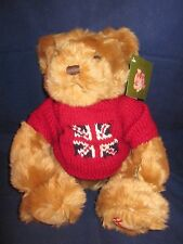 """Harrods Bear 14"""" Tan Brown Bear wearing Red British Flag Sweater ~ New with Tags"""