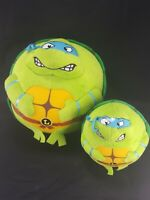 """2 TY Beanie LEONARDO Teenage Mutant Ninja Turtle Round Plush Balls 7"""" And 4"""""""