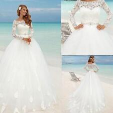 Custom New Long Sleeve Lace Wedding Dress Bridal Gown Size 4 6 8 10 12 14 16 18+