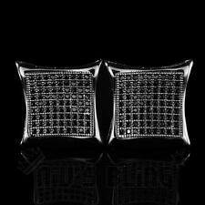 18k Black Gold ICED OUT Simulated Diamond Micropave Square Stud Hip Hop Earring