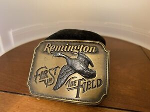 """Vintage Remington Belt Buckle 1980 Canada Goose """"First in the Field"""""""