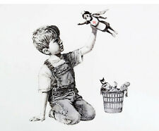 "Banksy graffiti art, The Game Changer, Giclee Canvas Print, 12""x16"""