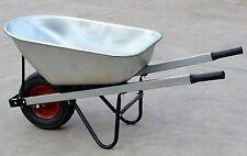200KG Wheelbarrow Galvanised Steel Frame 100L Metal Bucket Garden Cart Trolley