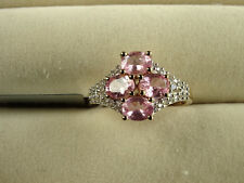 Rare Mozambique Pink Spinel & Zircon Cluster 10K Y Gold Ring Size L-M/6 RRP £350