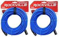 2 Rockville RCXFM50P-BL Blue 50' Female to Male REAN XLR Mic Cable 100% Copper