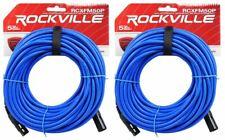 2 Rockville RCXFM50P-BL Blue 50' Female to Male REAN XLR Mic Cable 100% Copper