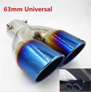 Car Rear Dual Exhaust Pipe Tail Muffler 62mm Tip Chrome Colorful Stainless Steel