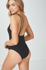 Cotton On Body Womens Flo Double Strap One Piece Cheeky  In  Black