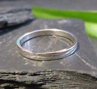 Schöner 925 Silber Ring Muster Rillen Designer Modern Elegant Retro Top