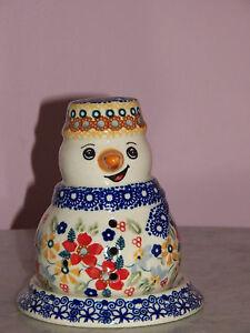 Polish Pottery Snowman Tea Light! UNIKAT Signature Rembrandt Pattern!