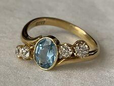 BEAUTIFUL ANTIQUE 18CT GOLD LADIES 5 STONE DIAMOND AQUAMARINE RING