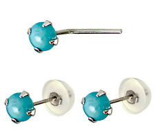 14K Solid White Gold 2.5mm Turquoise L Shape Nose Stud and Earrings