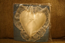 Vintage New Ivory Wedding Satin lace Cushion Bearer Ceremony Ring Heart Pillow