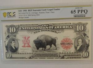 $10 1901 BEP Intaglio Note PCGS Graded 65 PPQ GEM UNC