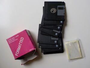 """9 Disketten Formatiert Beschriftungs-Aufkleber DOS Formatted 3,5"""" MF 2HD 1.44MB"""