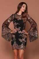 NAZZ COLLECTION FLIRT BLACK & ROSE GOLD FLORAL SEQUIN DRESS S