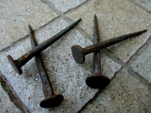 ANTIQUE LOT 4 NAILS LARGE HEAD 6,5 cm IN IRON BLACKSMITH HANDMADE WROUGHT
