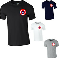 Captain America Shield Logo T-Shirt,Avengers Superhero Marvel Comics Mens Top