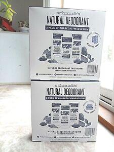 Schmidt's Natural Deodorant Sticks (lot of 6) Charcoal + Magnesium 3.25 oz each